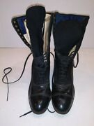 Vintage Victorian Grant Woman's Black Leather And Wool Lace Up Boots Size 8