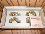Lot Of 3 Boxes Of 4 Elmora Home Silver And Gold Jingle Bell Napkin Rings
