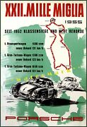 Mille Miglia Racing 1955 Classic German Sports Car Races Vintage Poster Print
