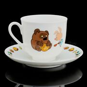 Russian Imperial Lomonosov Porcelain Cup And Saucer Winnie The Pooh And Piglet