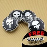 4 Punisher Skull Bone Wheel Center Cap Hub 60mm For Aftermarket/factory Rim