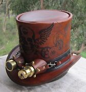 Skull And Wings Etched Steampunk Cosplay Top Hat With Golden Aviator Goggles