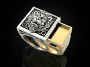Lion Secret Compartment Mens Biker Oxidized Ring In Sterling Silver S925