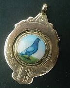 Super 9ct Rose Gold And Enamel Pigeon Fob Medal / Pendant H/m 1935 - Not Engraved