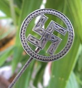Large Sterling Silver Hinged Fylfot Hat Pin / Hatpin H/m 1911 Adie And Lovekin