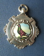 Vintage Sterling Silver And Enamel Fob Medal / Pendant Pigeon H/m 1935 Chester