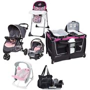 Baby Trend Girl Pink Combo Travel System Stroller Car Seat Swing Chair Playard