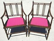 Pair Of Regency Style Mahogany Faux Bamboo Cane Seat Armchairs Accent Chairs