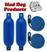 2 Pack Blue 6.5 X 23 Ribbed Inflatable Boat Fender And 2 Blue Lines - Made In Usa