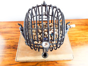 Antique 1920s Bingo Cage And Stand Gaming Balls Vintage Retro Tabletop Metal Games