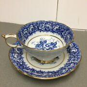 Paragon Fine Bone China Tea Cup And Saucer In Blue And Gold Trim
