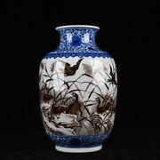 Old Qianlong Marked Blue And White Ink Color Porcelain Painted Reed Swallow Vase