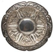 Mexico Taxco 1950 Chiseled Sterling Silver Colonial Revival Charger Great Look