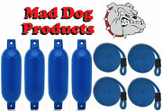 4 Blue 6.5 X 23 Inflatable Boat Fender Buoys And 4 Blue Lines - Made In Usa