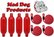 4 Red 6.5 X 23 Ribbed Inflatable Boat Fender Buoys And 4 Red Lines - Made In Usa