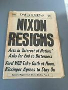 Watergate Nixon Resigns Newspaper Ny Daily News August 9 1974