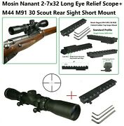 Mosin Nagant M44 M91/30 Top Scope Mount With 2-7x32 Long Eye Relief Scope,rings
