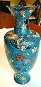 Lovely Japanese Cloisonne Vase W Fluted Rim And Flower And Butterfly Design 1880s