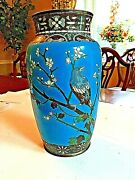 Beautiful Japanese Cloisonne Vase Decorated W/ A Bird On A Flowering Branch