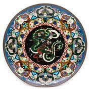 Japan 1900 Meiji Period Cloisonne Dragon Charger With A Dragon Beautiful Piece