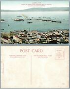Gibraltar American And Russian Fleets Harbour Town And Mole Antique Postcard