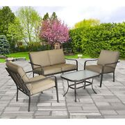 Outdoor Seating Area Cushioned Patio Loveseat Set Deck Chairs Glass Top Beige 4
