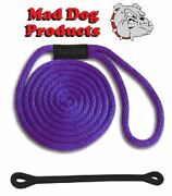 Mad Dog Purple Solid Braid Nylon Dock Line W/ Snubber - 1/2 X 30and039 Dock Line