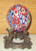 Vintage Murano Millefiori Art Glass Egg Paperweight And Ornate Stand
