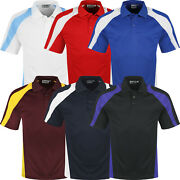 Mens Polo Shirts Breathable Short Sleeve Sports Contrast Anti Bacterial Top Tee