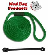 Mad Dog Green Solid Braid Nylon Dock Line W/ Snubber - 5/8 X 25and039 Dock Line