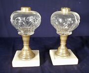 Antique Pair Of 19th Century Bullseye Glass Oil Lamps On Brass And Marble Base