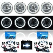 5-3/4 Projector White Smd Led Halo Crystal H4 Headlight And 6k Hid Bulb Set Of 4