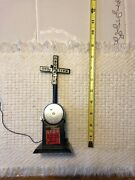 Vintage Metal Model Train Rr Crossing Sign With Bell And Gate With Light, Wired.