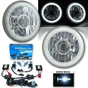 5-3/4 Projector White Smd Led Halo Crystal H4 Headlight And 6k Hid Bulb Pair