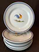 L'assainato Grottaglie William Sonoma Rooster Italy Pottery Dinner Plates Set 8