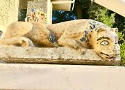 17-18th Century Antique Stone Carved Painted Leopard Tiger Thai Temple Statue