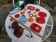 Lot Of Vintage Car Glass Tail Light Lenses, Lights And Mirrors Ford Gm Dodge Misc.