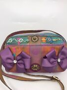 Fendi Vintage Crossbody Bag Customized W Bow Tie And Floral Applique