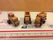 Lot Of 3 . One Of A Kind , Handcrafted Toy Wooden Wood Construction Trucks
