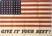 Original Vintage Poster Give It Your Best American Flag Usa Wwii World War