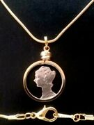 One Cutout Real Mercury Dime 90 Silver Us Coin Gold-tone Bezel Pendant Necklace