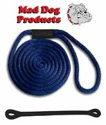 Mad Dog Navy Blue Solid Braid Nylon Dock Line W/ Snubber - 3/8 X 20and039 Dock Line