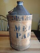 Antique Tin Oil Can Medical Parafine Oil Rare Wood Label Apothecary Bottle Jar