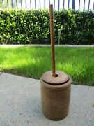 Antique Stoneware Butter Churn W/ Wooden Dasher And Handmade Lid Old Primitive