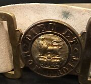 Victorian 1837-1901 British Army Leather Parade Belt And Brass Buckle,late Reign