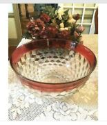 A Vintage Large Indiana Depression Glass Diamond Point Ruby Red Bowl 13