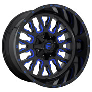 4-fuel 1pc Stroke Gloss Black Blue Tinted Clear 22x10 Ford F250 Rims 8x170 -18