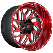 4 Wheels Fuel 1pc Triton Candy Red Milled 22x10 Chevy gm Hd Rims 8x180 -18