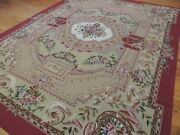 9x12 French Aubusson Needlepoint Oriental Area Rug Beige Red Green Floral Wow