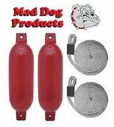 2 Red 6.5 X 23 Ribbed Inflatable Boat Fenders And 2 Silver Lines - Made In Usa